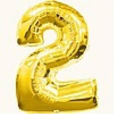 """Надувная фольгированная цифра """"2"""" золотая 65 см"""