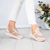 Женские кроссовки в цвете пудра на толстой подошве, из натуральной замши/кожи 37 39 ПОС. Р