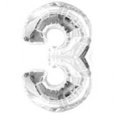 """Надувная фольгированная цифра """"3"""" серебро 65 см"""
