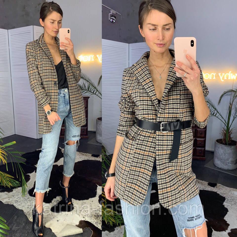 Женский стильный пиджак удлиненный в клетку