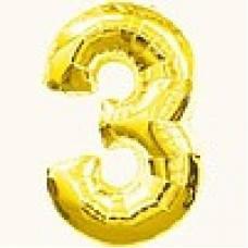 """Надувная фольгированная цифра """"3"""" золотая 65 см"""