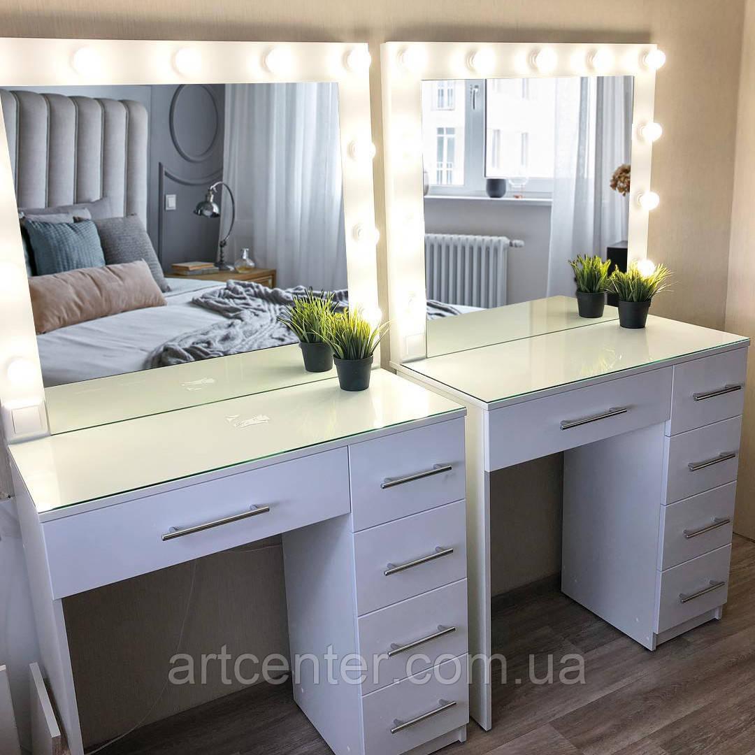 Туалетный столик с одной тумбой и зеркалом с подсветкой