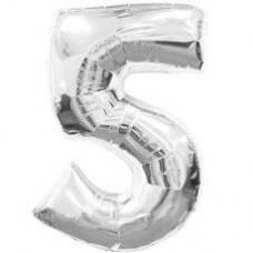 """Надувная фольгированная цифра """"5"""" серебро 65 см"""