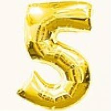 """Надувная фольгированная цифра """"5"""" золотая 65 см."""