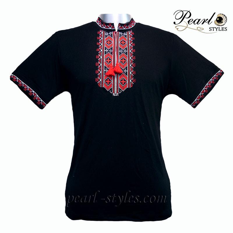 Мужская вышитая футболка, чёрная с вискоза