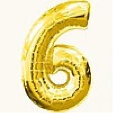 """Надувная фольгированная цифра """"6"""" золотая 65 см"""