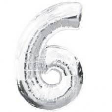 """Надувная фольгированная цифра """"6"""" серебро 65 см"""