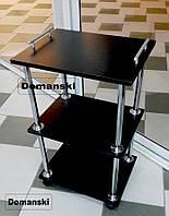 Черная косметологическая тележка. Тележка косметолога черного цвета с двумя ручками ограничителями по бокам.