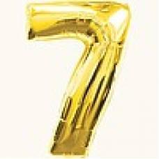 """Надувная фольгированная цифра """"7"""" золотая 65 см"""