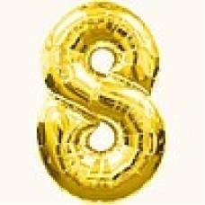 """Надувная фольгированная цифра """"8"""" золотая 65 см"""