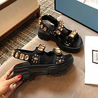 Сандалии Gucci с кристаллами и сетчатой отделкой, фото 1