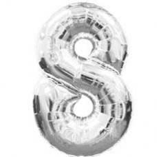 """Надувная фольгированная цифра """"8"""" серебро 65 см"""