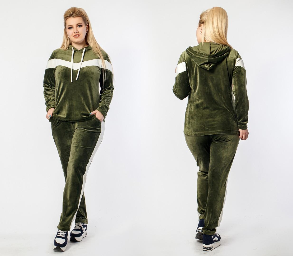 96da75d3 ... 54 Женский спортивный костюм велюр плюшевый с лампасами Размеры: 48,  50-52, 54