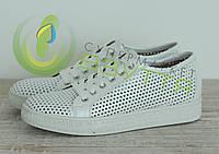 Кожаные женские  кроссовки арт 4503 бел размеры 39,40, фото 1