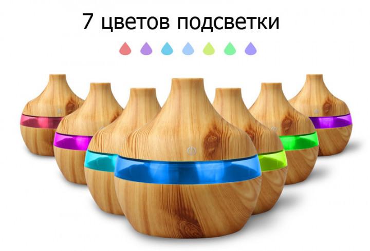 Аромадиффузор увлажнитель воздуха c подсветкой 7 цветов UKC 300 мл светлое дерево   Оригинал