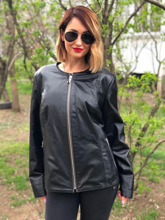 Куртка Кожаная Большой Размер Черная 073МК