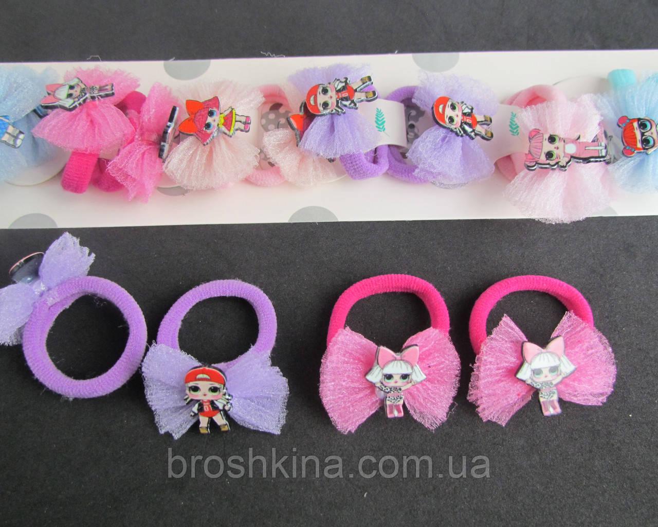 Резиночки для волос бантики с куклами LOL 10 пар/уп.