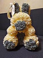 ✅ Заяц из 3D Роз, 40 см. + красивая упаковка (Зайчик з троянд)