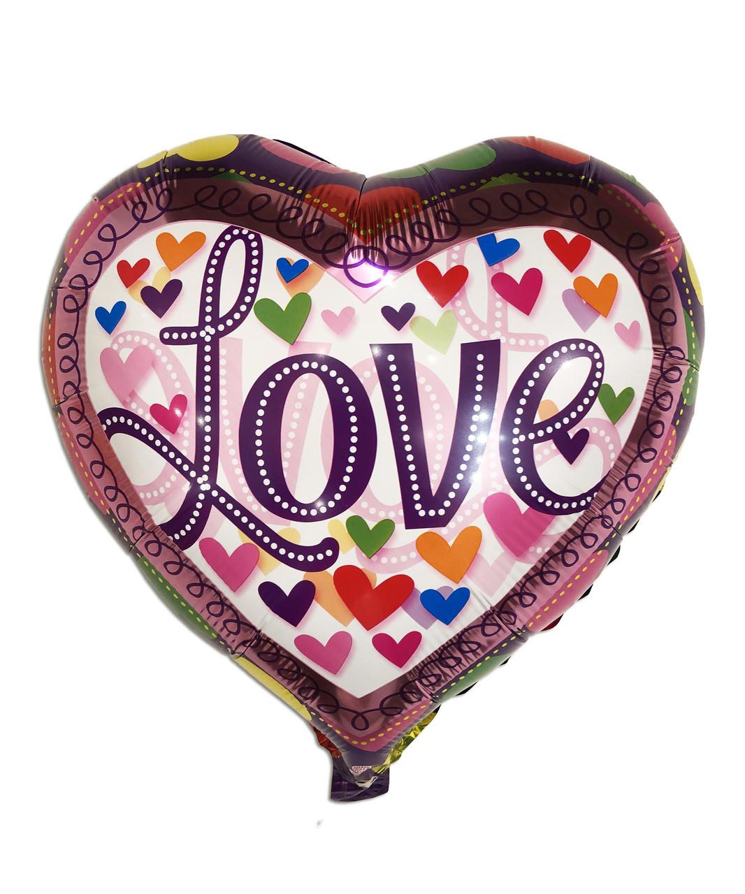"""Куля фольгований серде """"Серце Love"""", 45 см"""