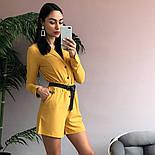 Женский стильный комбинезон шорты с поясом (в расцветках), фото 2