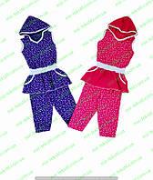 Летний костюм для девочки с капюшоном