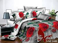 ✅ Полуторный комплект постельного белья с 3D(3Д) эффектом (Полисатин) TAG PS-NZ 2486