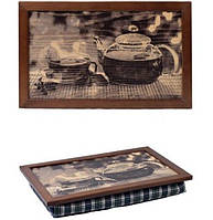 """Поднос с подушкой """"Летний чай"""" многофункциональный столик-поднос - для ноутбука или для завтрака в постель"""