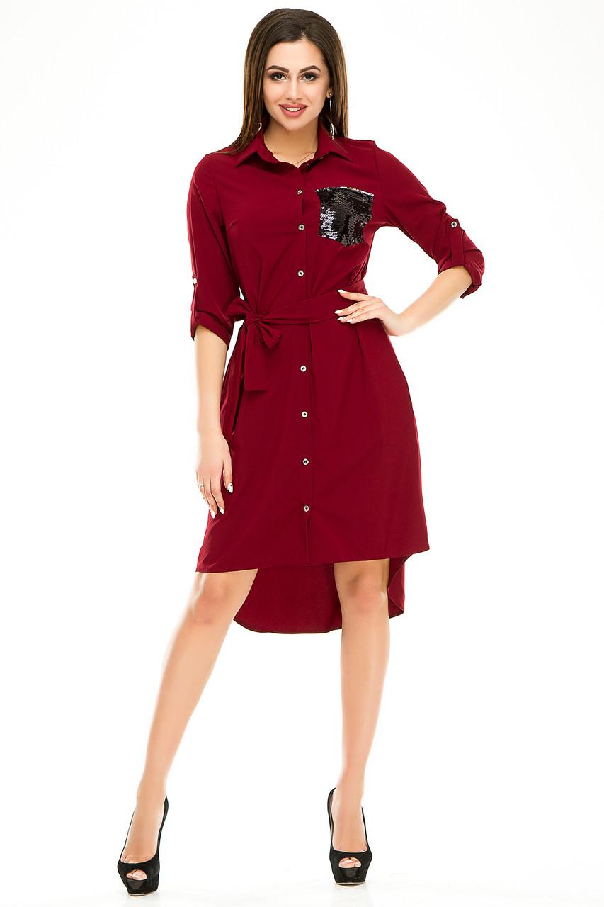 Платье с поясом 600 бордо размер 44-46