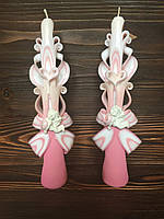 Свічки на хрестини з ангелятами для хрещення дівчаток рожеві