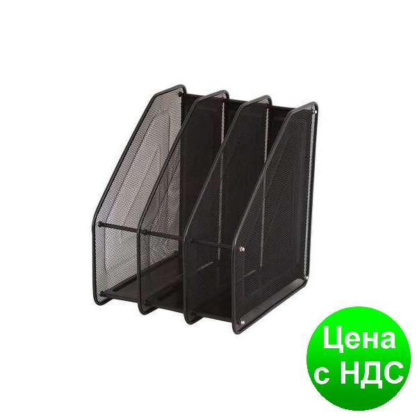 Лоток для бумаги 3 секции, вертикальный, металл.сетка, черный 307-C