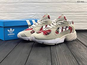 Чоловічі кросівки Adidas Yung 1 (бежево-червоні)