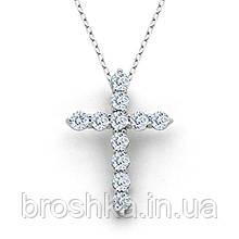 Кулон крестик с камнями и цепочкой ювелирная бижутерия