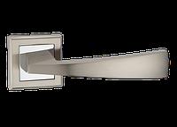 Ручка дверная нажимная Frio Z-1215 SN/CP цинковая на квадратной розетке
