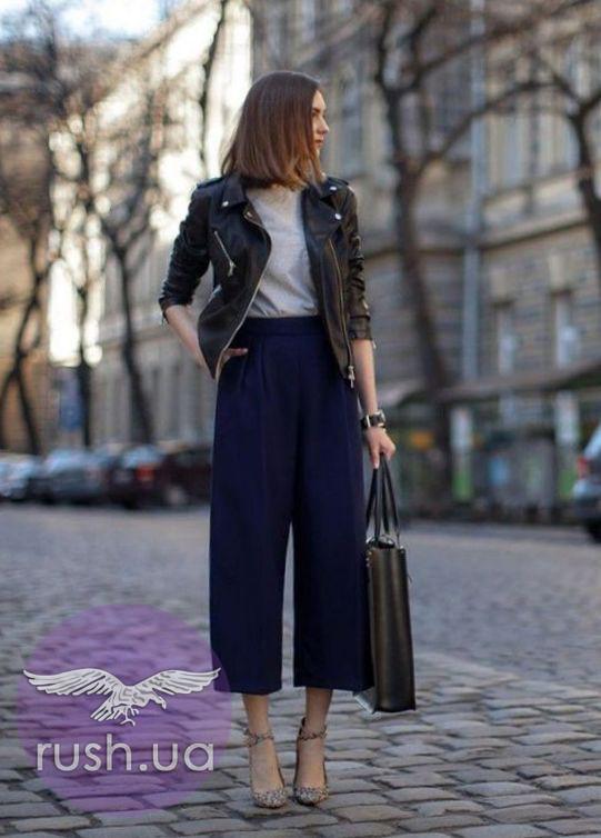 Женские укороченные широкие брюки кюлоты