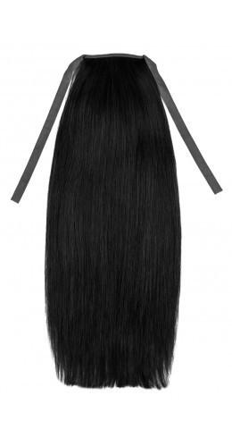 Накладной хвост из славянских волос 70 см, 100 грамм. Цвет #01 Черный