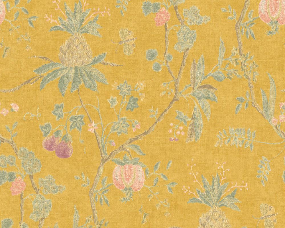 Обои горчичного цвета с узором в виде растений, цветов и плодов 367194