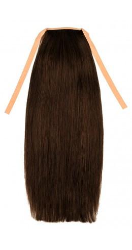 Накладной хвост из славянских волос 70 см, 100 грамм. Цвет #02 Темно-коричневый, фото 1