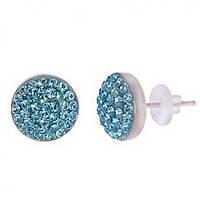 Серьги гвоздики с голубыми кристаллами Swarovski 102947