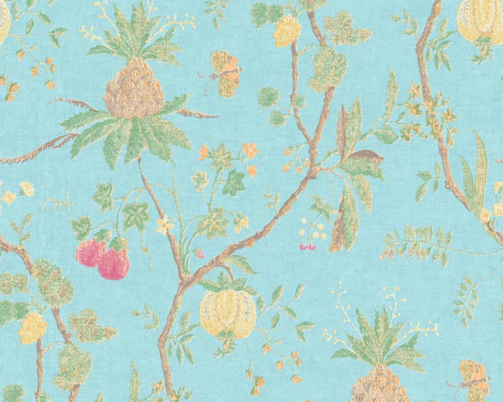 Голубые виниловые обои с растительным узором 367195