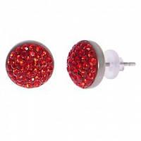 Серьги гвоздики с красными кристаллами Swarovski 102950