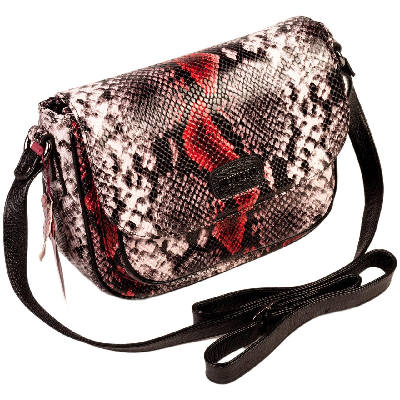 """Женская сумка кожаная BUTUN 3100-038-006 кросс-боди """"под рептилию"""" цветная"""