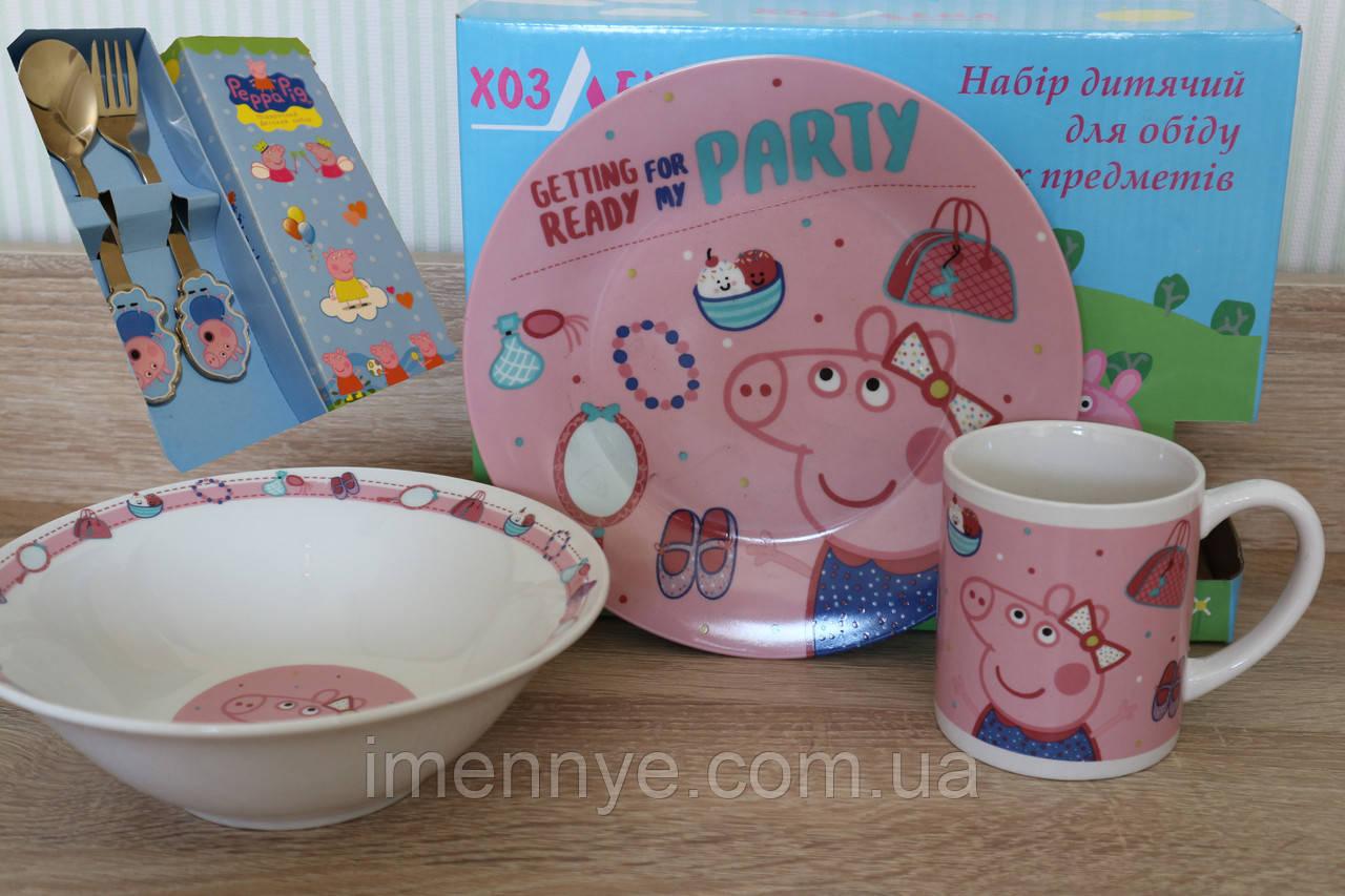 Свинка Пеппа на детской посуде из керамики