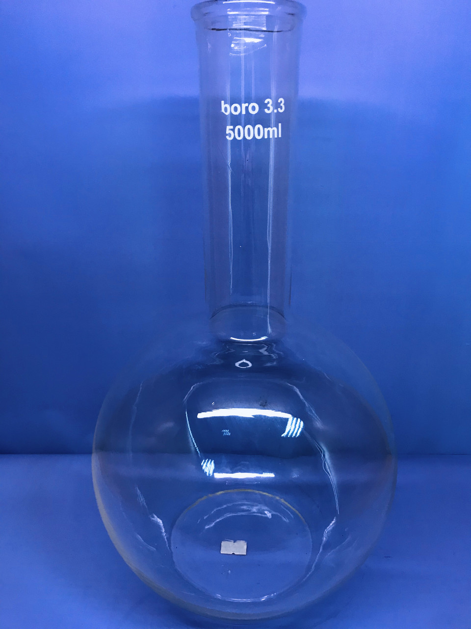 Колба плоскодонная без шлифа 5000мл, д.50, Boro 3.3