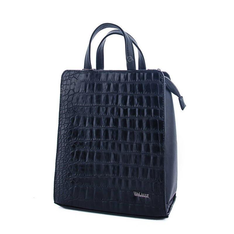 Молодежный каркасный сумка-рюкзак WeLassie 44801 со вставкой крокодил, черный