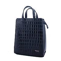 Молодежный каркасный сумка-рюкзак WeLassie 44801 со вставкой крокодил, черный, фото 1