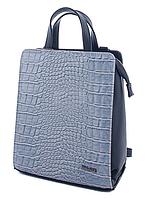 Молодежный каркасный сумка-рюкзак WeLassie 44804 со вставкой крокодил, серый, фото 1