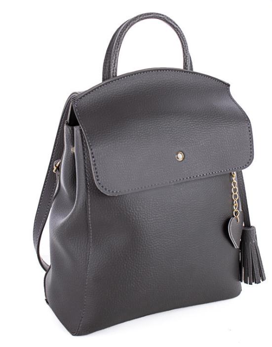 Молодежный сумка-рюкзак WeLassie 44601 с подвеской сердце, серый