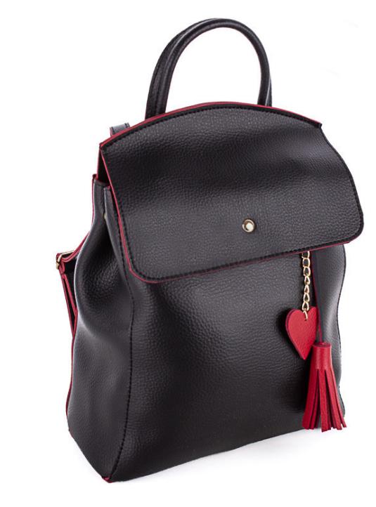 Молодежный сумка-рюкзак WeLassie 44606 с подвеской сердце, черно-красный