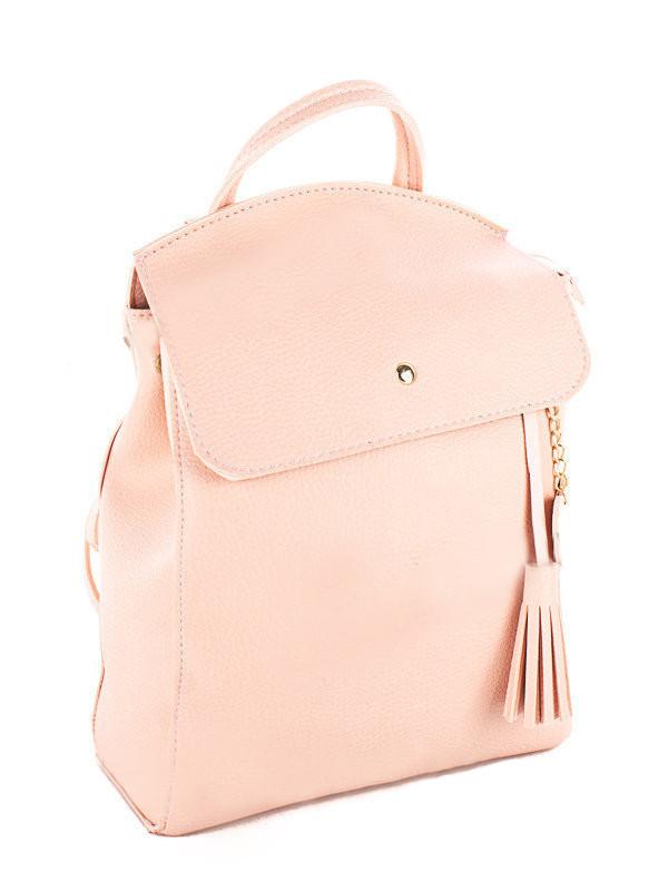 Молодежный сумка-рюкзак WeLassie 44610 с подвеской сердце, пудровый