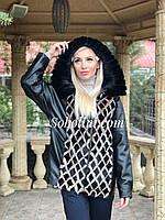 Куртка из итальянской кожи с норкой, 46/48 размер, фото 1
